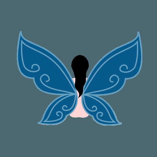 Logo Taisa-Designer - Hada de espaldas con alas azules. - Todos los derechos reservados | Taisa-designer.com