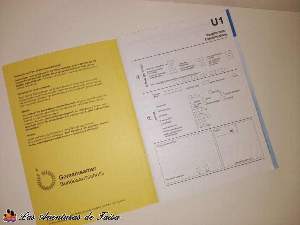 Libro de salud de los niños en Alemania - Untersuchungsheft - U1