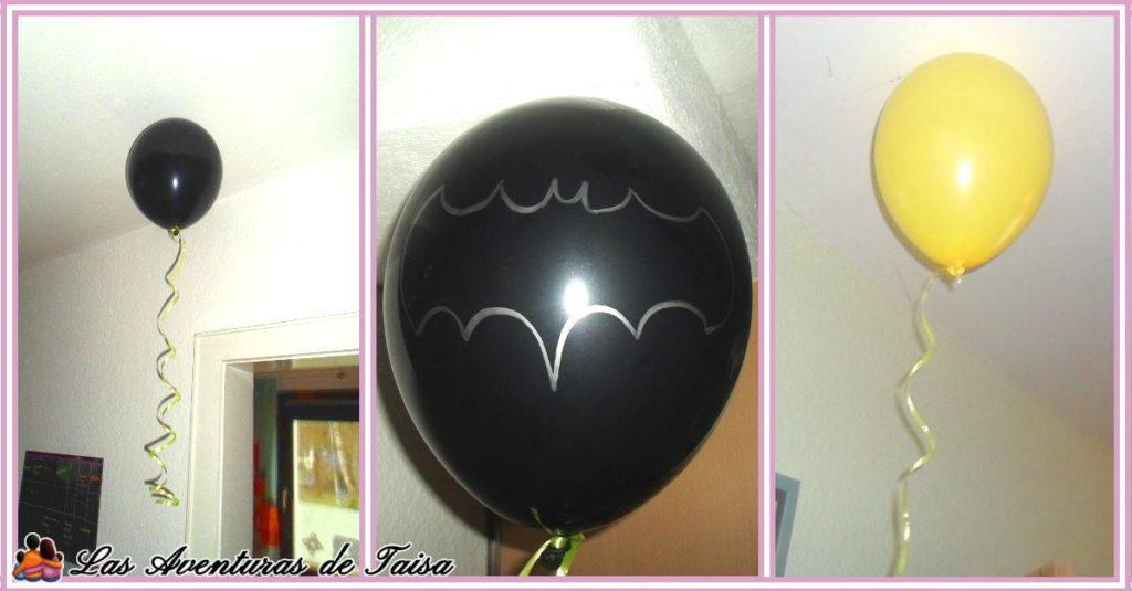 Globos que parece que flotan y globo de Batman