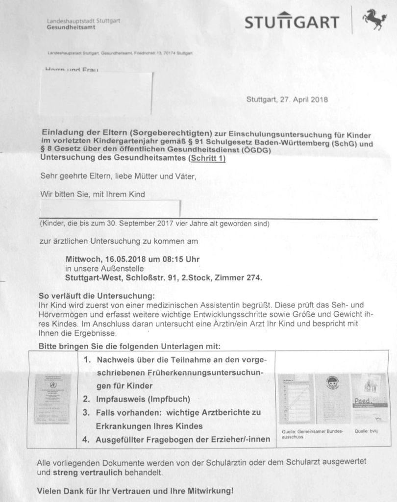 Carta del Einschulungsuntersuchung en Stuttgart