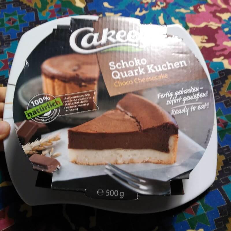 Envase de la tarta de quark y chocolate