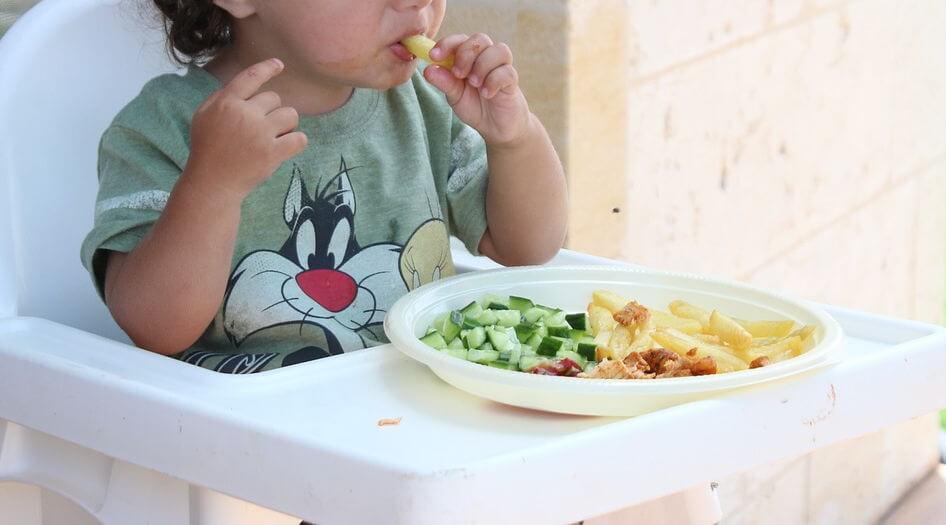 BLW - prevenir la neofobia y probar cosas nuevas - foto ilustrativa de Pixabay Bebe comiendo en la trona en un plato con trocitos.