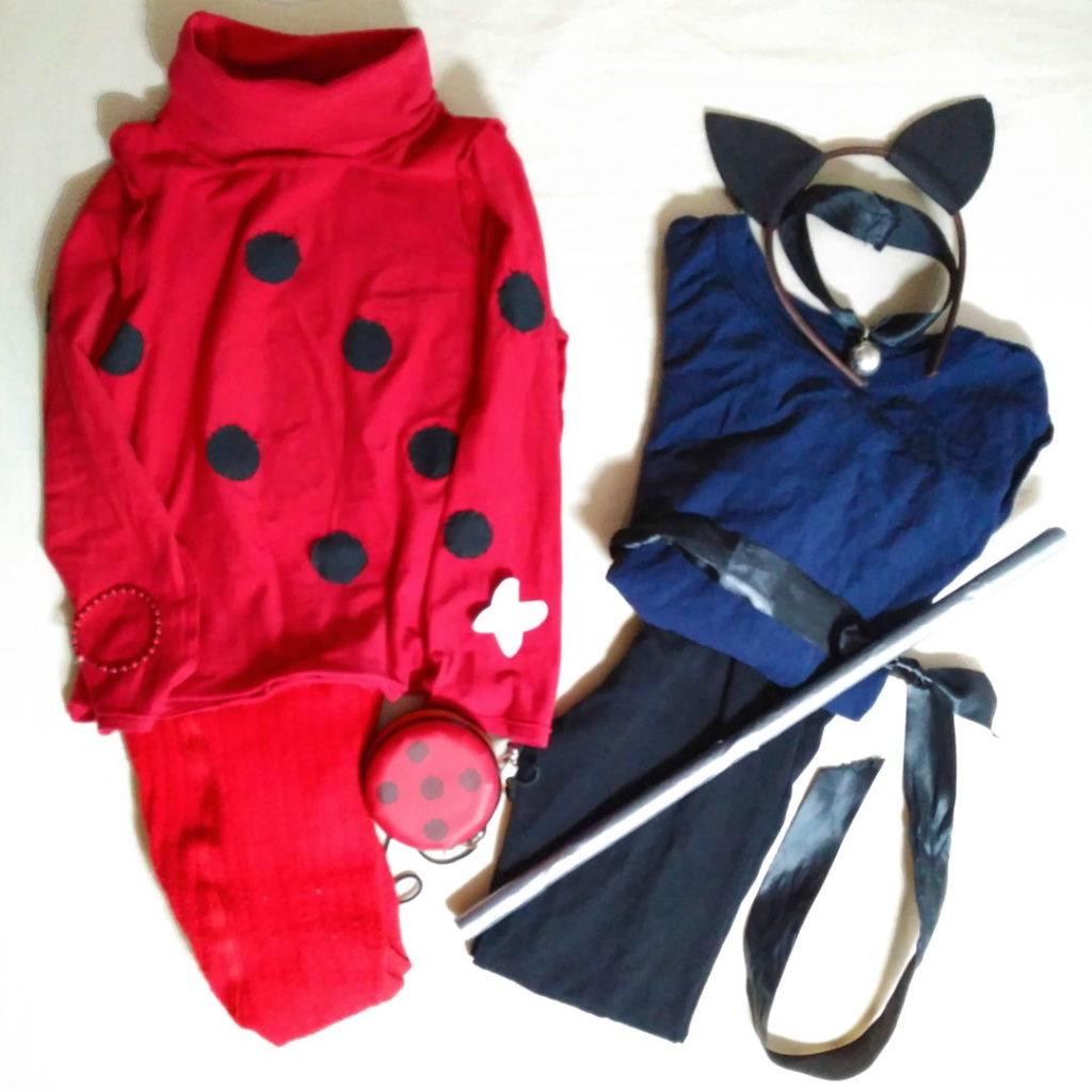 Disfraz de Ladybug y Disfraz de Cat Noir caseros DIY
