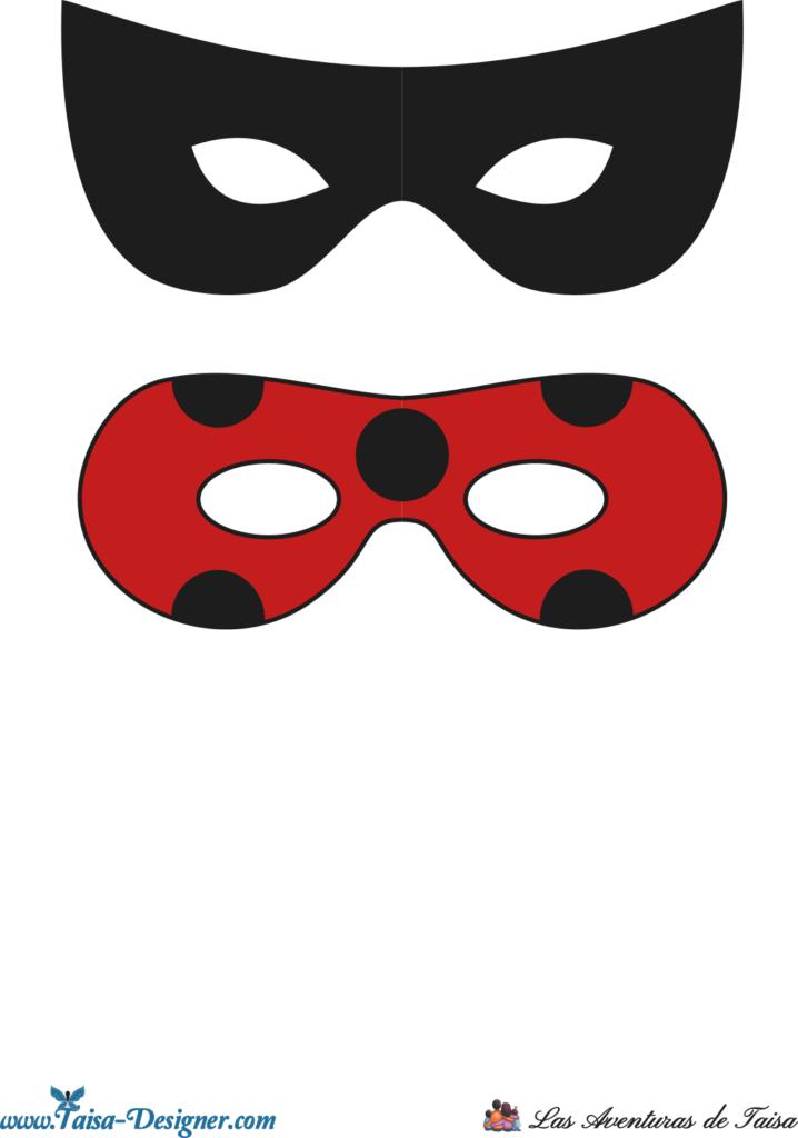 Antifaces de ladybug y catnoir para imprimir