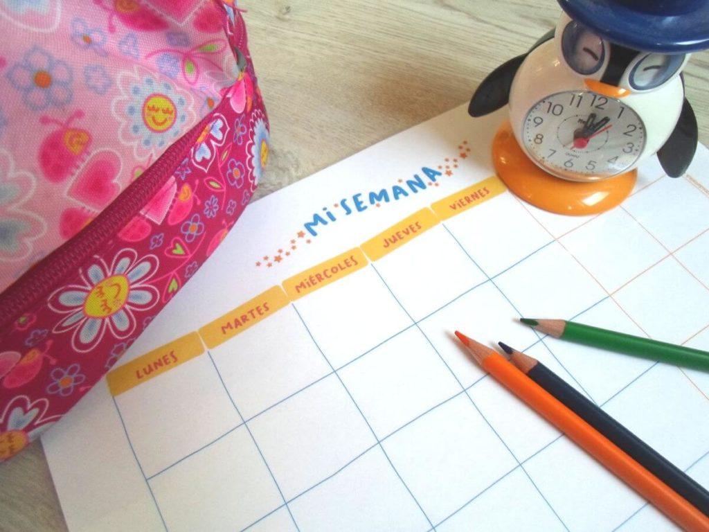 Rutinas para niños dia y horario semanal PDF imprimible para descargar
