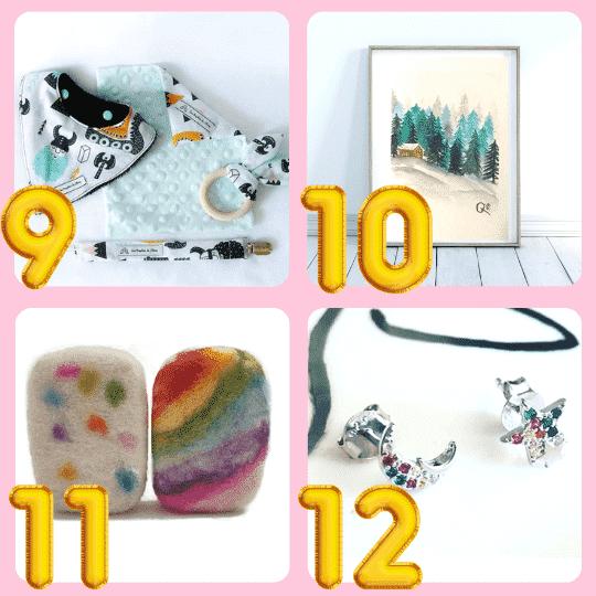 9 - Artículos para bebé de Los Trapitos de Olivia, 10 - Láminas ilustradas de Sleepy Siren en Mexico,  11 Jabones de Lana de Manos de Lana, 12 - Joyería de La Platera | 24 Ideas de regalos artesanales